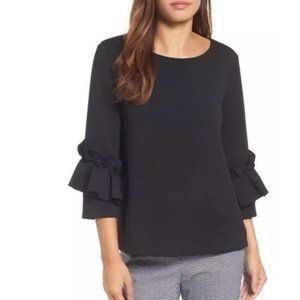 Halogen Black Box Pleat Ruffle Sleeve Top